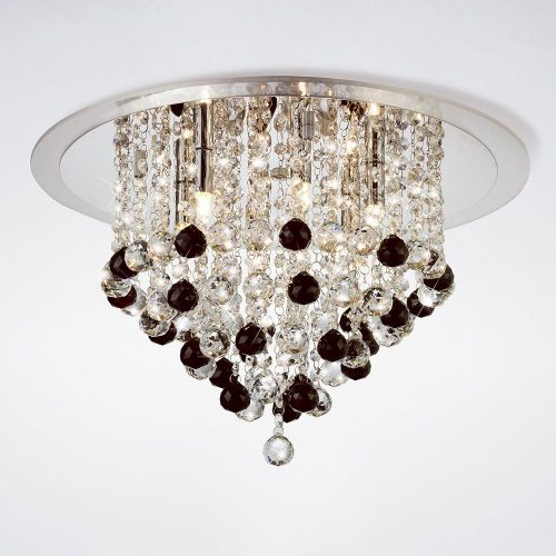 Diyas IL30009BL Atla Ceiling 6 Light Polished Chrome/Acrylic Trim/Crystal Supplied With 25 Additional Black Crystal Spheres