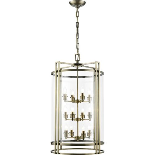 Diyas IL31095 Eaton Pendant 12 Light Ceiling Lantern Antique Brass Frame