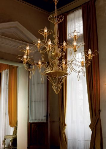 Metal Lux Dedalo Ceiling Chandelier 12 x E14 Satin Gold 192.112.02