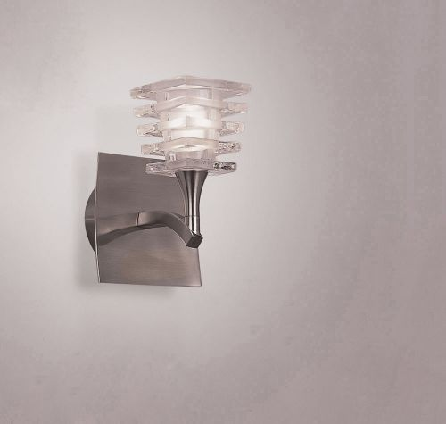 Mantra Keops 1 Light Switched Wall Light Satin Nickel M0028/s