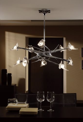 Mantra Flavia 10 Light Pendant Up-Down Polished Chrome M0312