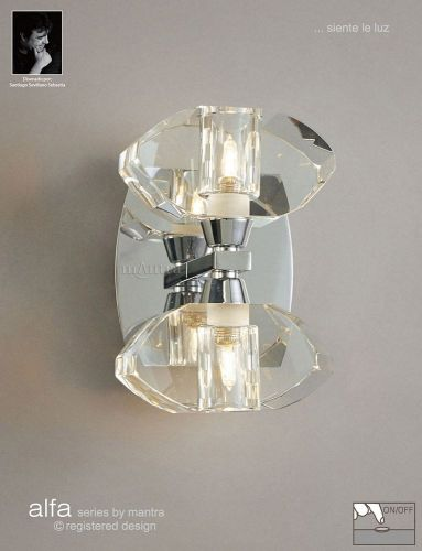Mantra Alfa Wall 2 Light Polished Chrome Switched M0424/S