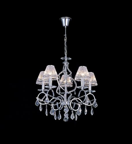 Diyas IL30315 Torino Pendant 5 Light Polished Chrome Crystal