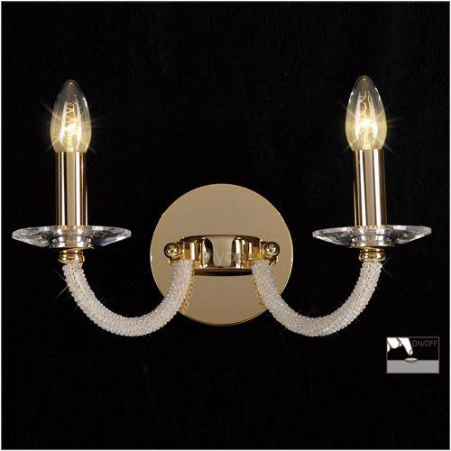 Diyas IL30372 Elena Crystal Double Wall Lamp Gold Frame