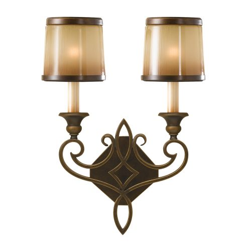 Feiss Justine Astral Bronze Double Wall Light Oak Glass FE/JUSTINE2/B