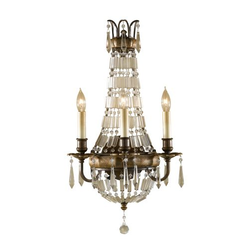 Feiss Bellini Bronze Wall Light FE/BELLINI/W3 Antique Quartz Crystal
