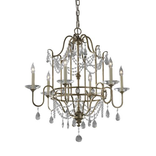 Feiss FE/GIANNA6 Hand Painted Silver Ceiling Light Crystal Decoration