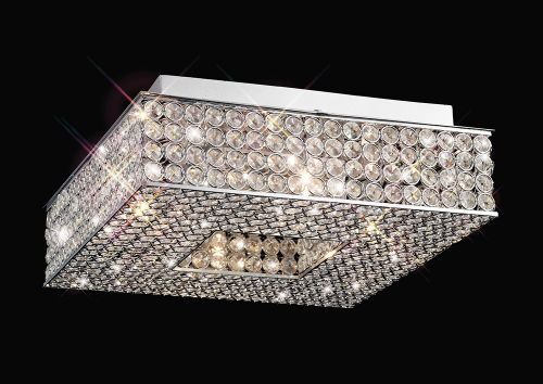 Diyas IL30431 Piazza Crystal 4 Light Flush Square Ceiling Fitting Polished Chrome Frame