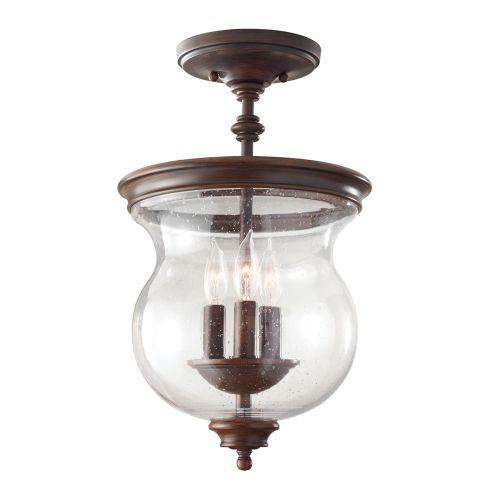 Feiss Pickering Lane Heritage Bronze Semi Flush Ceiling Light FE/PICKERINGL/SF