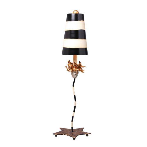 Flambeau La Fleur Black And Taupe Striped Table Lamp FB/La Fleur TL