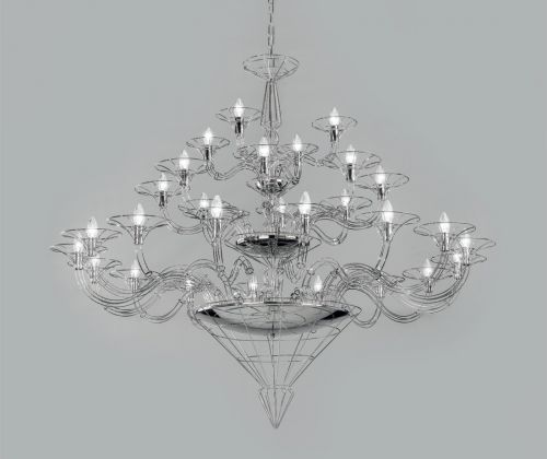 Metal Lux Dedalo Ceiling Large Chandelier 28 x E14 Polished Chrome 192.128.01