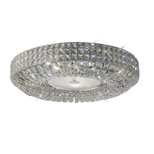 Diyas IL31202 Enya Crystal 9 Light Flush Ceiling Fitting Polished Chrome Frame