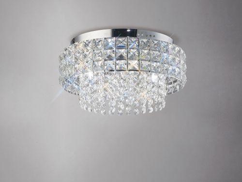 Diyas IL31150 Edison Flush Ceiling Fitting Round 4 Light Polished Chrome Crystal