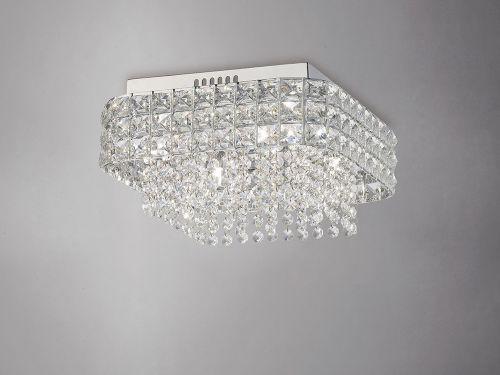 Diyas IL31152 Edison Flush Ceiling Fitting Square 4 Light Polished Chrome Crystal