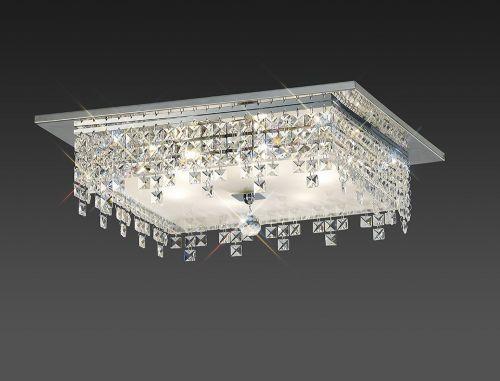 Diyas IL30264 Esta Flush Ceiling Fitting Square 6 Light Polished Chrome Glass Crystal