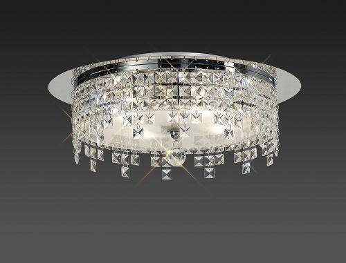 Diyas IL30263 Esta Flush Ceiling Fitting Round 6 Light Polished Chrome Glass Crystal