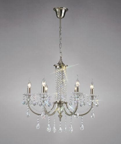 Diyas IL32086 Leana Pendant 6 Light Satin Nickel Crystal