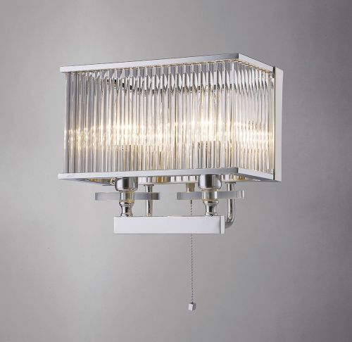 Diyas IL31410 Vanessa Crystal Double Wall Lamp Polished Chrome Frame