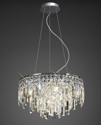 Diyas  Maddison 6 Light Pendant Round  Polished Chrome/Crystal IL30254