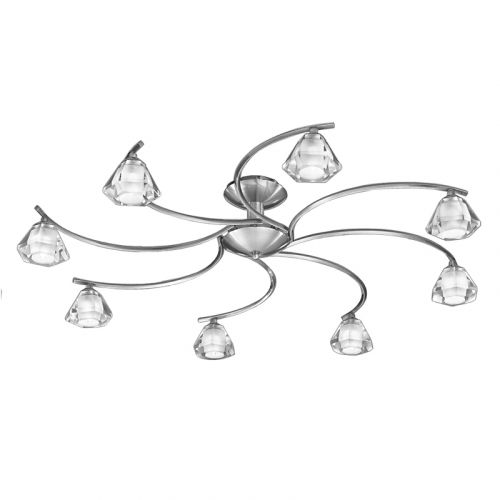Semi-Flush Ceiling Light Fitting Satin Nickel Sirocco LEK61549