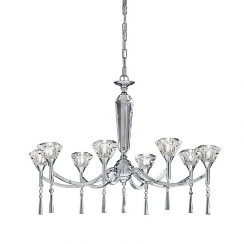 Crystal Multi-Arm Ceiling Fitting 8 Light Chrome Elevir LEK61344