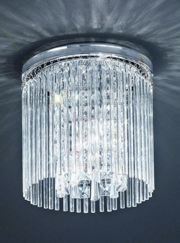 Flush Bathroom Ceiling Fitting Glass Rods Crystal Drops Polished Chrome LEK60058