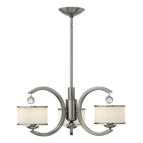Hinkley Monaco 3 Light Chandelier HK/MONACO3 Brushed Nickel
