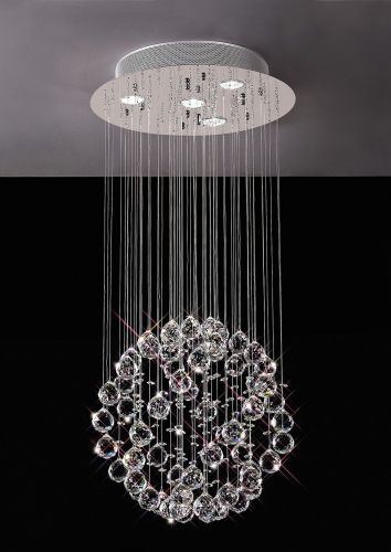 Diyas  Colorado 4 Light Pendant Small Sphere  Polished Chrome/Crystal IL30780