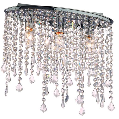 Ideal Lux 008370 Rain 3Lt Chrome Flush Crystal Ceiling Fitting