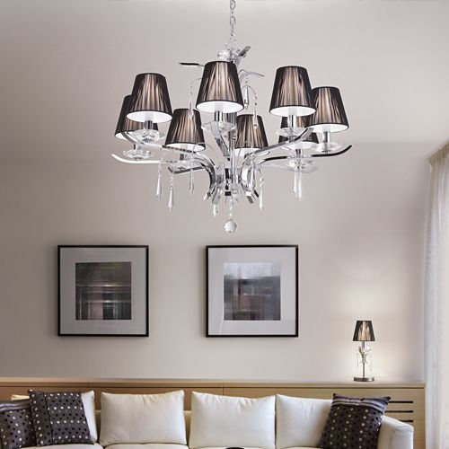 Ideal Lux 020594 Accademy 8Lt Chrome Crystal Ceiling Light Black Shade