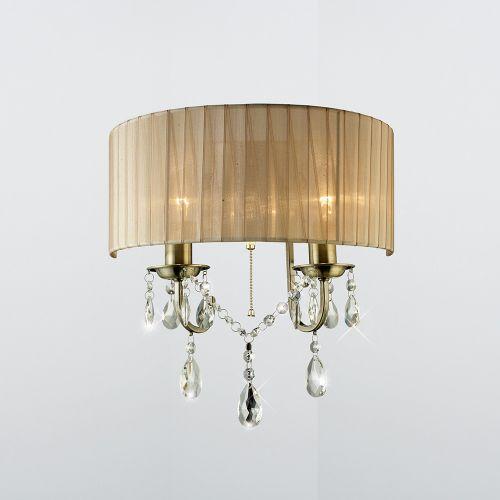 Diyas Olivia 2 Light Wall Lamp Antique Brass Bronze Shade IL30064SB