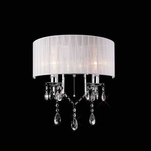 Diyas Olivia 2 Light Wall Lamp Polished Chrome White Shade IL30061WH