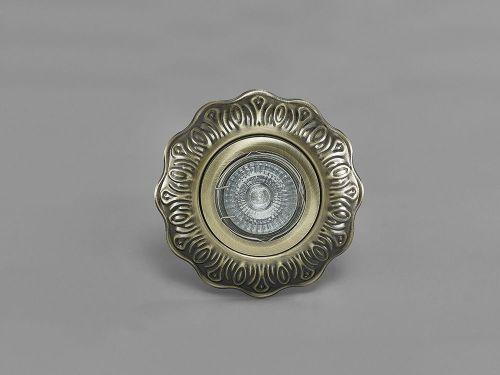 Diyas IL30845AB Aspen Vintage Pattern Recessed Downlight Round GU10 Antique Brass