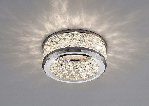 Diyas IL30835CH Dante GU10 Recessed Downlight 3 Levels Of Crystal Beads Polished Chrome Clear