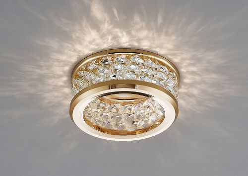 Diyas IL30835FG Dante GU10 Recessed Downlight 3 Levels Of Crystal Beads French Gold Clear