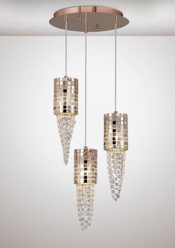 Diyas IL31626 Camden Pendant 3 Light G9 Round Rose Gold Mosaic Glass Crystal
