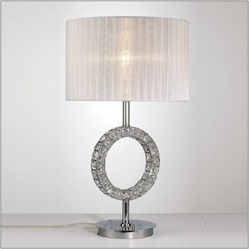 Diyas IL31534 Florence Round Table Lamp White Shade 1 Light Polished Chrome Crystal