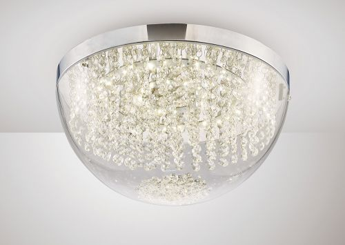 Diyas IL80013 Harper Large Flush Ceiling Fitting 21W LED Polished Chrome Crystal