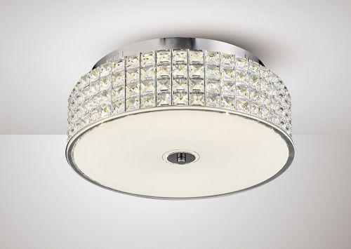 Diyas IL80021 Hawthorne Round Flush Ceiling Light 30W 1700lm LED 4000K Polished Chrome Crystal
