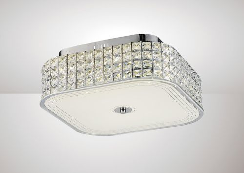 Diyas IL80023 Hawthorne Square Flush Ceiling Light 30W 1450lm LED 4000K Polished Chrome Crystal
