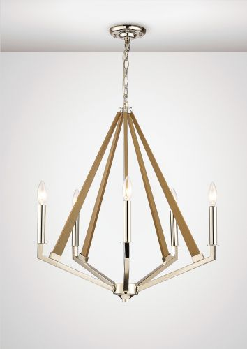Diyas IL31682 Hilton Pentagonal Pendant 5 Light E14 Polished Nickel Taupe Wood