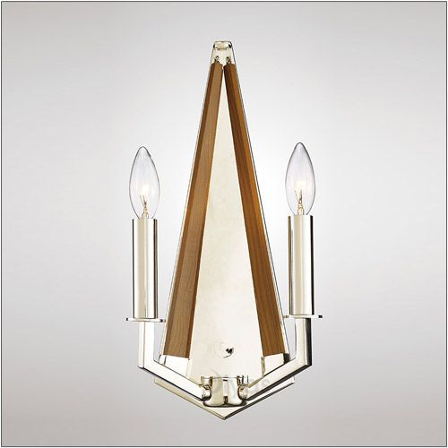 Diyas IL31680 Hilton Wall Lamp 2 Light E14 Polished Nickel Taupe Wood