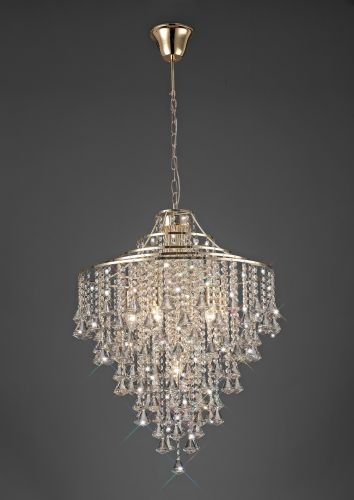 Diyas Inina Pendant 7 Light E14 French Gold/Crystal IL32772