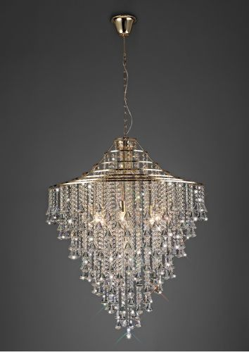 Diyas Inina 9 Light Pendant E14 French Gold/Crystal IL32773