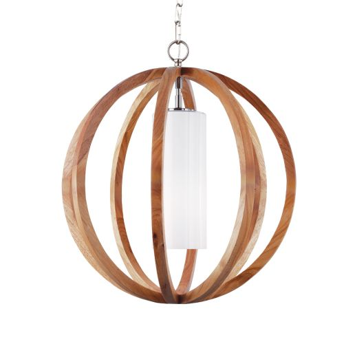 Feiss FE/ALLIER/P/S LW Allier 1Lt Brushed Steel and Wood Small Pendant