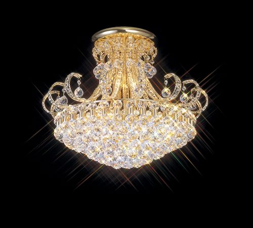 Diyas Pearl  12 Light Ceiling French Gold/Crystal IL30007