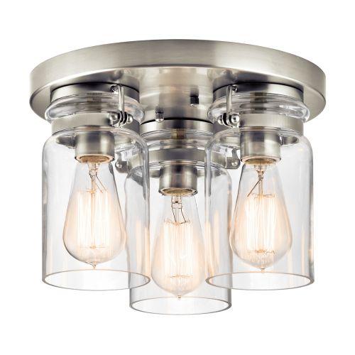 Kichler KL/BRINLEY/F NI Brinley 3Lt Brushed Nickel Flush Ceiling Light