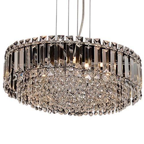 Impex CFH606071/ROU/L/CH Alvery 9Lt Chrome Round Ceiling Pendant Clear Crystal