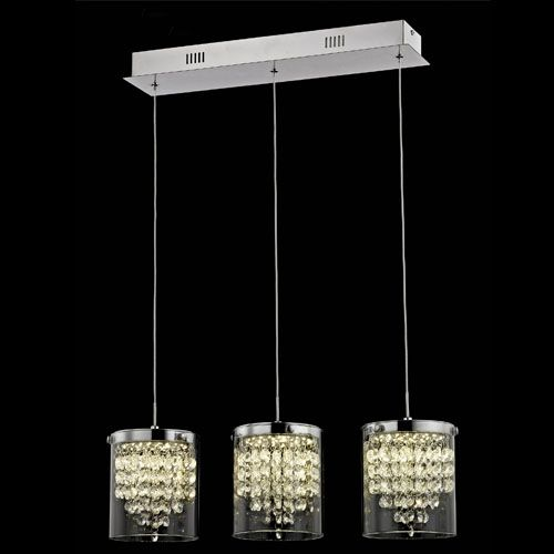 Impex LED608242/03/CH Florina 3Lt LED Chrome Ceiling Bar Pendant