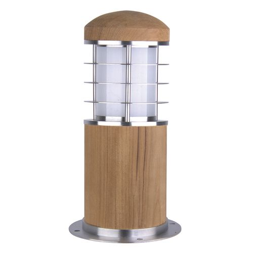 Garden Zone Poole 1 Light Stainless Steel Teak Outdoor Bollard GZ/POOLE MB